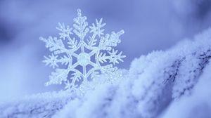 Превью обои снег, снежинка, зима, форма, узор