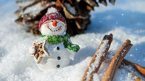 Превью обои снеговик, снег, корица, шишка, рождество, новый год