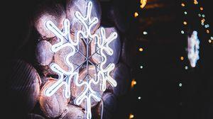 Превью обои снежинка, неон, свечение, свет, украшение