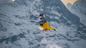 Превью обои сноубордист, сноуборд, прыжок, трюк, трамплин, экстрим