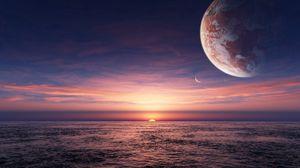 Превью обои солнце, закат, море, планеты