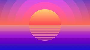 Превью обои солнце, арт, геометрический, линии, круги