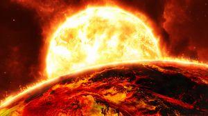 Превью обои солнце, планета, пламя, огонь, яркий