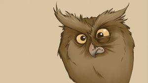 Превью обои сова, взгляд, удивление, рисунок