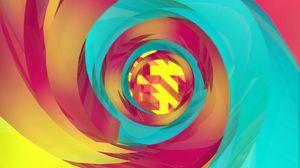 Превью обои спираль, разноцветный, закрученный, воронка, абстракция