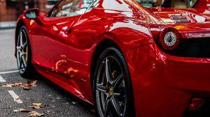Превью обои спорткар, красный, вид сзади