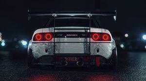 Превью обои спорткар, машина, белый, вид сзади, ночь, подсветка
