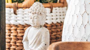 Превью обои статуя, будда, буддизм, белый, каменный