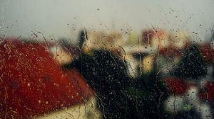 Превью обои стекло, дождь, капли, окно, влажный