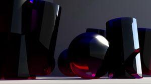 Превью обои стекло, формы, синий, 3d