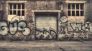 Превью обои стена, город, граффити, улица, старый