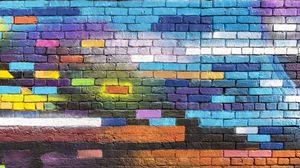 Превью обои стена, кирпичный, красочный, краска, стрит арт, граффити
