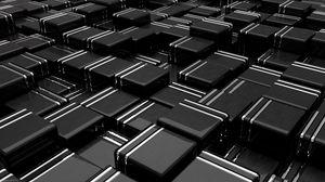 Превью обои структура, кубы, 3d, черный, линии