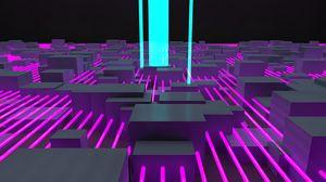 Превью обои структура, линии, кубы, 3d