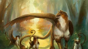 Превью обои существа, семья, грифоны, лес, тропинка