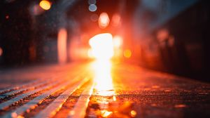 Превью обои свет, блики, боке, яркий, дорога