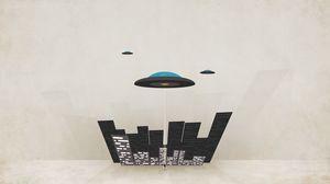 Превью обои тарелки, minimal walls, город, нло, минимализм, летающие