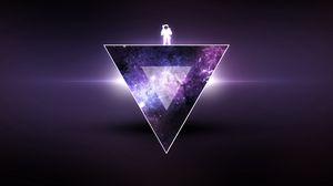 Превью обои текстура, треугольник, космонавт, минимализм