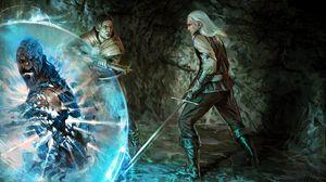 Превью обои the witcher, мужчины, ведьмак, колдун, пещера, арбалет, арт
