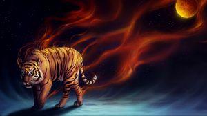 Превью обои тигр, абстракция, луна, арт