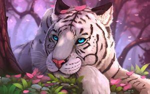 Превью обои тигр, арт, голубоглазый, взгляд