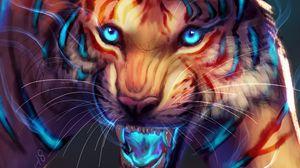 Превью обои тигр, арт, оскал, свечение, морда, хищник