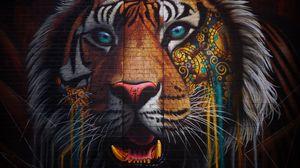 Превью обои тигр, граффити, стрит арт, стена, разноцветный
