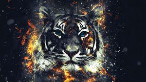 Превью обои тигр, искры, арт, вспышки