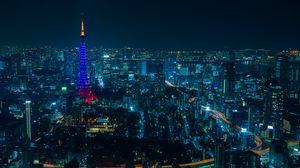 Превью обои токио, ночной город, небоскребы
