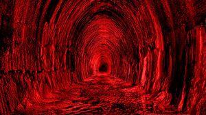 Превью обои тоннель, красный, черный, свет