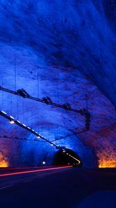Превью обои тоннель, темный, подсветка, подземный, освещение