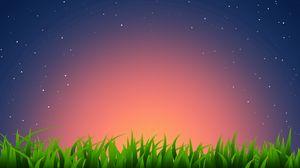 Превью обои трава, горизонт, светлый, звезды