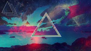 Превью обои треугольник, фон, темный, пятна
