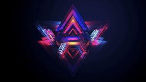 Превью обои треугольник, яркий, разноцветный, фон