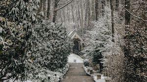 Превью обои церковь, деревья, зима, тропинка, снегопад