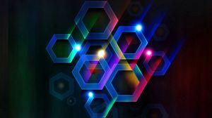 Превью обои цвет, шестигранник, ячейка, объем, линии, лучи