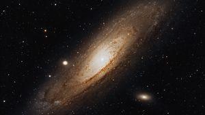 Превью обои туманность андромеды, галактика, спираль, звезды, космос