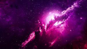 Превью обои туманность, блики, свет, облако, фиолетовый