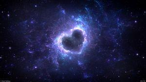 Превью обои туманность, сердце, свечение, космос, энергия