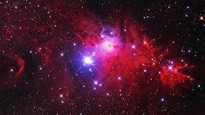 Превью обои туманность, звезды, блики, космос, красный