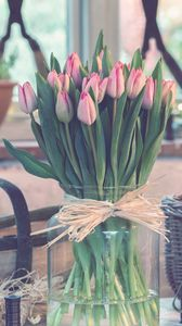 Превью обои тюльпаны, букет, ваза