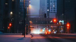 Превью обои улица, город, здания, автомобили, огни