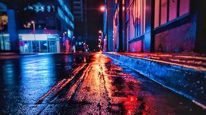 Превью обои улица, ночь, мокрый, неон, город