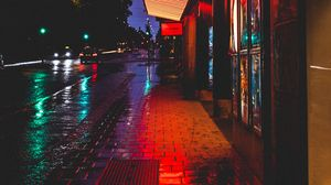 Превью обои улица, ночь, огни города, здания, плитка, дорога, стокгольм, швеция