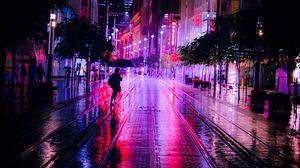 Превью обои улица, ночь, силуэты, неон, темный