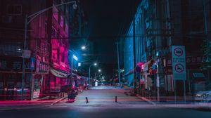 Превью обои улица, ночной город, неон, здания