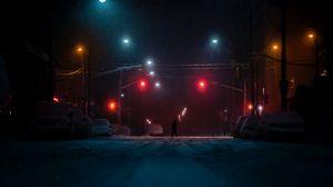 Превью обои улица, силуэт, темный, ночь, снег