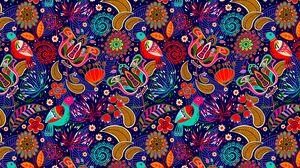 Превью обои узор, красочный, фольклор, пестрый, яркий, цветы, птицы