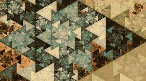 Превью обои узор, треугольники, геометрия, разноцветный, фрактал
