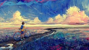 Превью обои велосипед, арт, велосипедист, тропинка